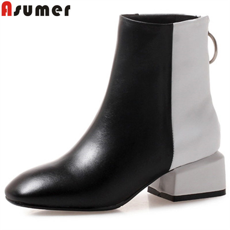 ASUMER 2018 fashion ankle boots for women square toe zip genuine leather boots med heels ladies boots mixed colors big size ASUMER 2018 fashion ankle boots for women square toe zip genuine leather boots med heels ladies boots mixed colors big size