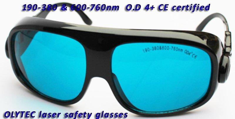 multi-wavelength laser protection glasses for 190-380 & 600-760nm O.D 4+ CE certified high VLT% 10pcs 190 380