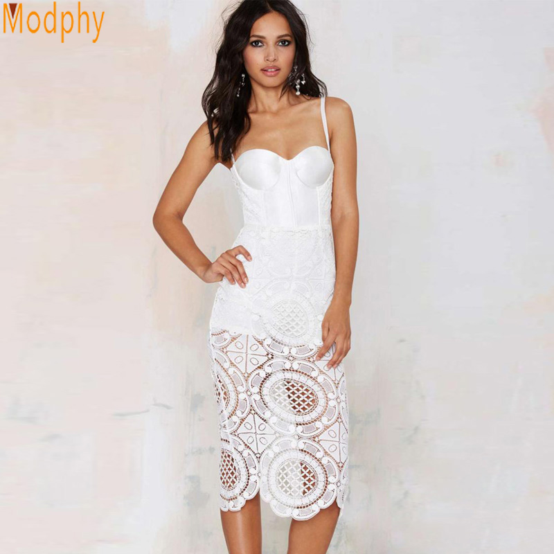 Women Sexy Floral White Lace Celebrity Mid Calf Bandage Dress Hollow Out Spaghetti Strap Open Back