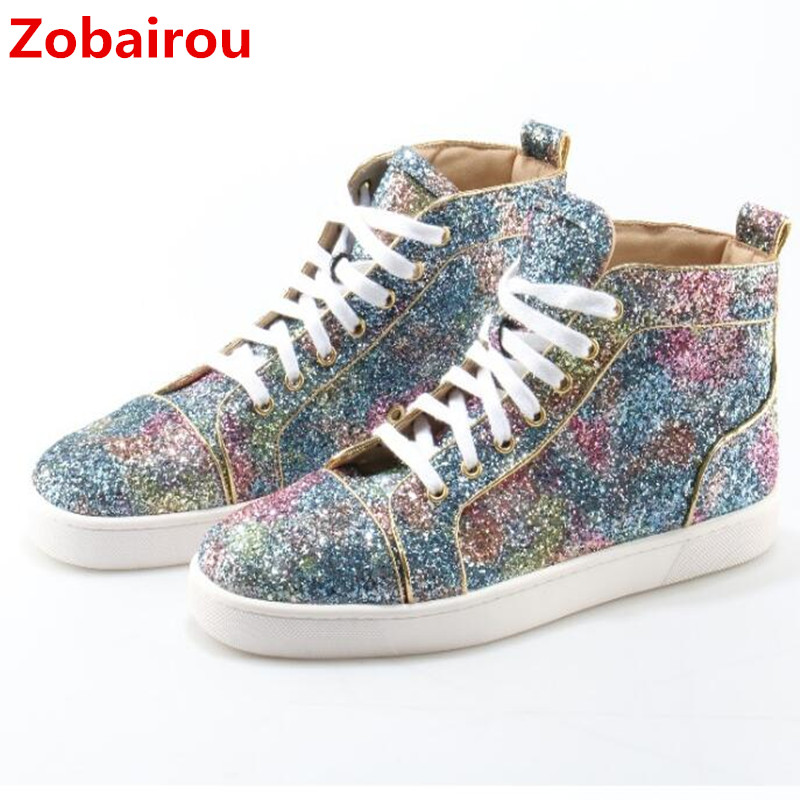 Здесь продается  Zobairou zapatos hombre high top sneakers glittter leather shoes men lace up winter causal ankle boots zapatillas outdoor shoe   Обувь