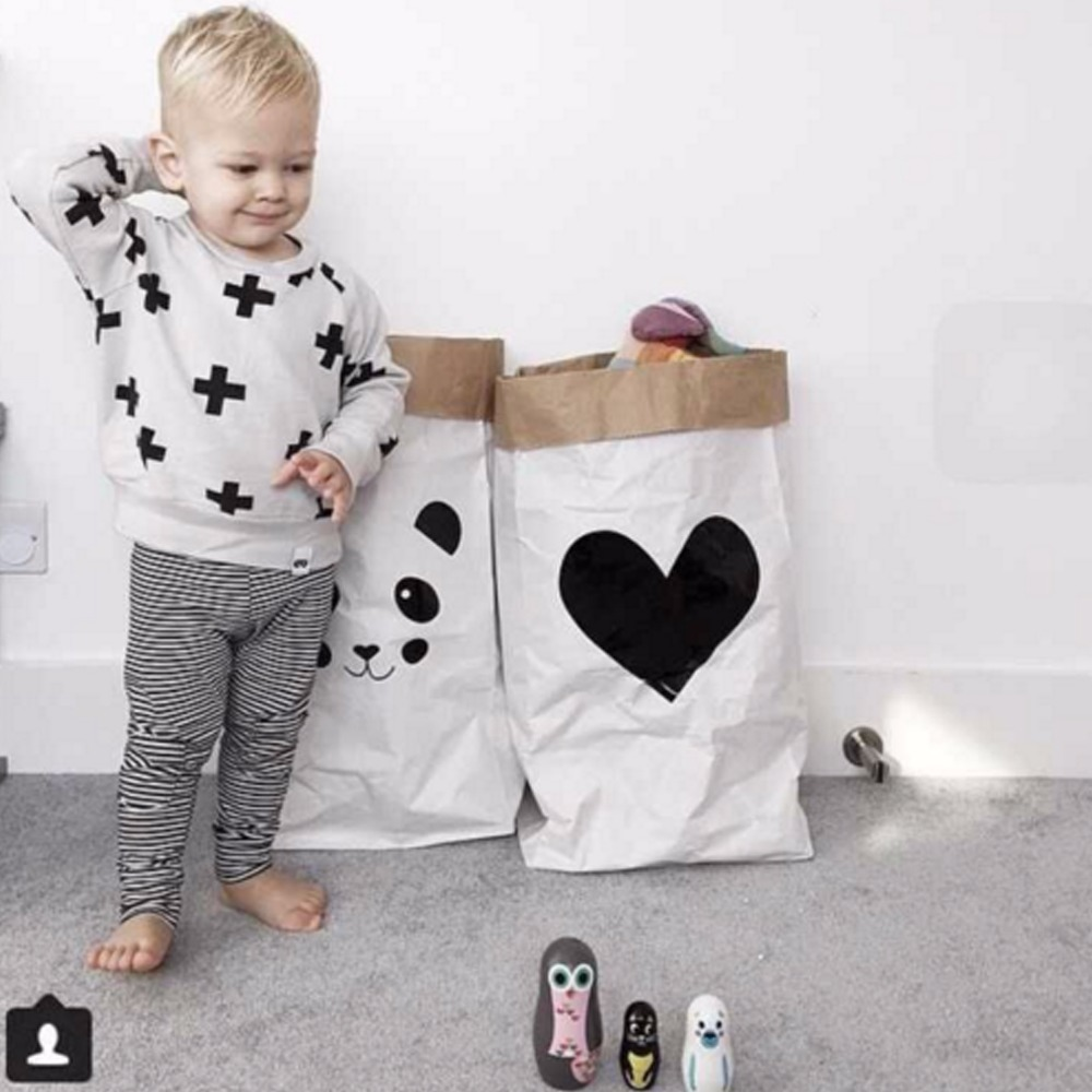 INS Fashion Eco-vriendelijke zware Kraft papieren zak kinderkamer - Home opslag en organisatie - Foto 6