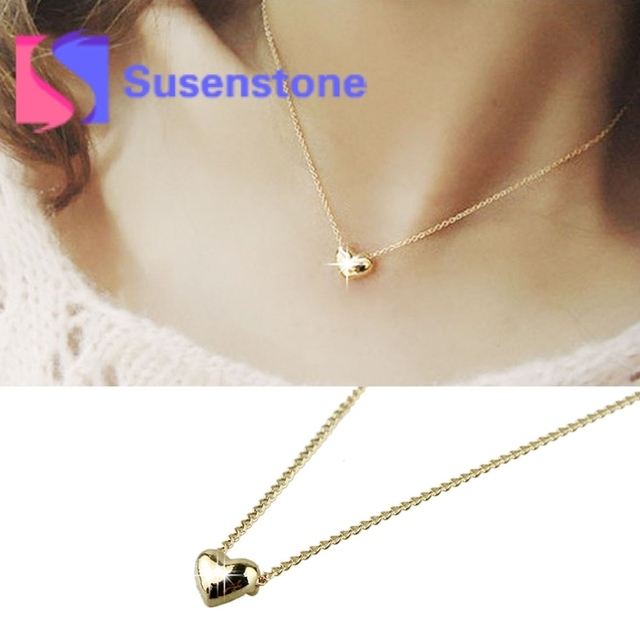 26f5e8b7def1 2018 fashion small heart necklace short design chain gold necklaces  pendants gold heart collar for women Jewelry new arrival