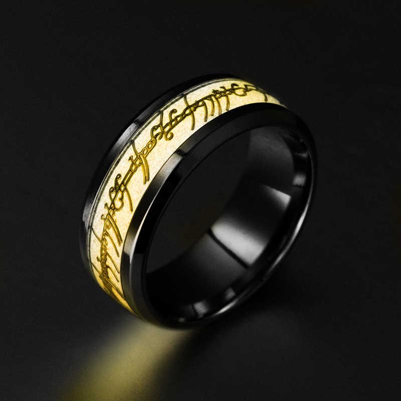 2018 Baru Fashion Trendi Geometris Logam Unisex Cincin Anillos Anel Stainless Steel Cincin Raja Lampu Malam Gelap Bersinar Pria 'S