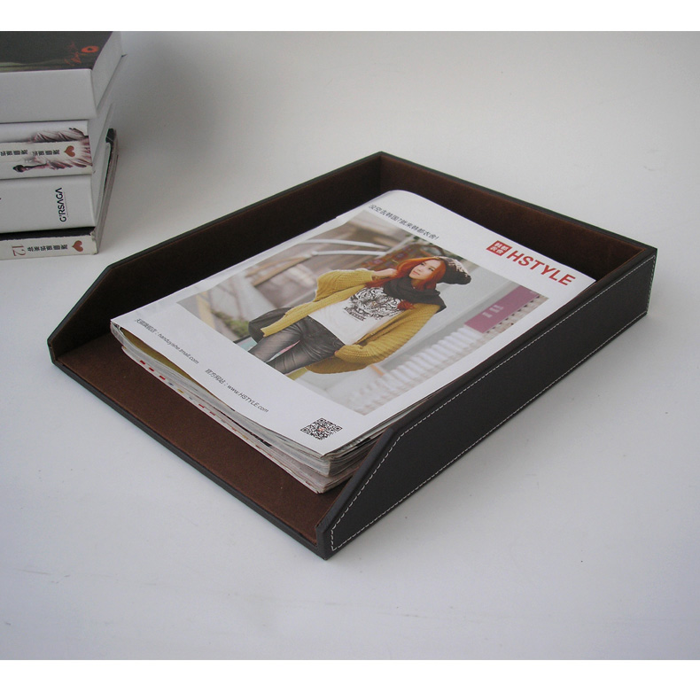 13.5x10.5 a4 leather office desk file document tray container storage box case organizer holder brown 225B