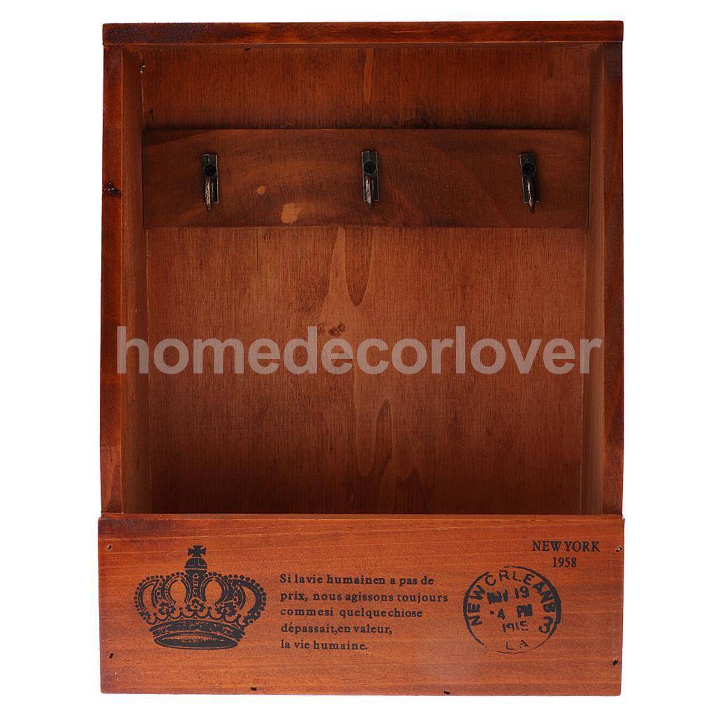 Merveilleux Retro Wall Mount Key Rack Storage Box Shelf Wooden Cabinet Cubby Letter Mail  Holder Case