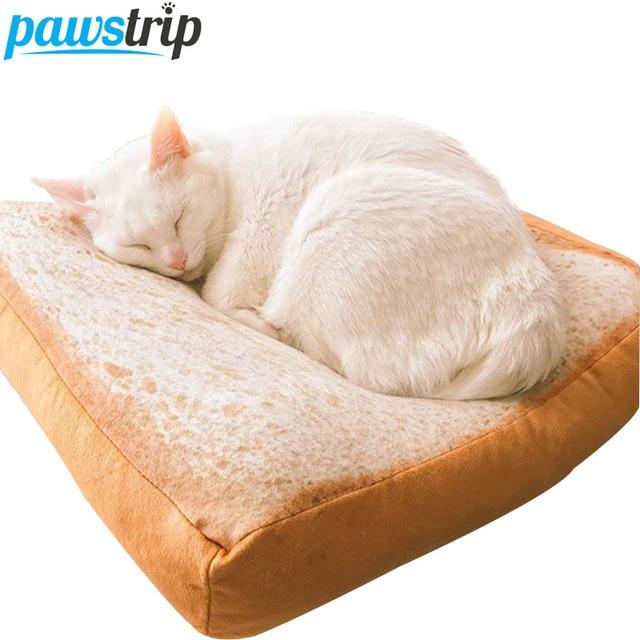 2018 new design bread toast cat bed mat soft fleece puppy cushion detachable wash small dog