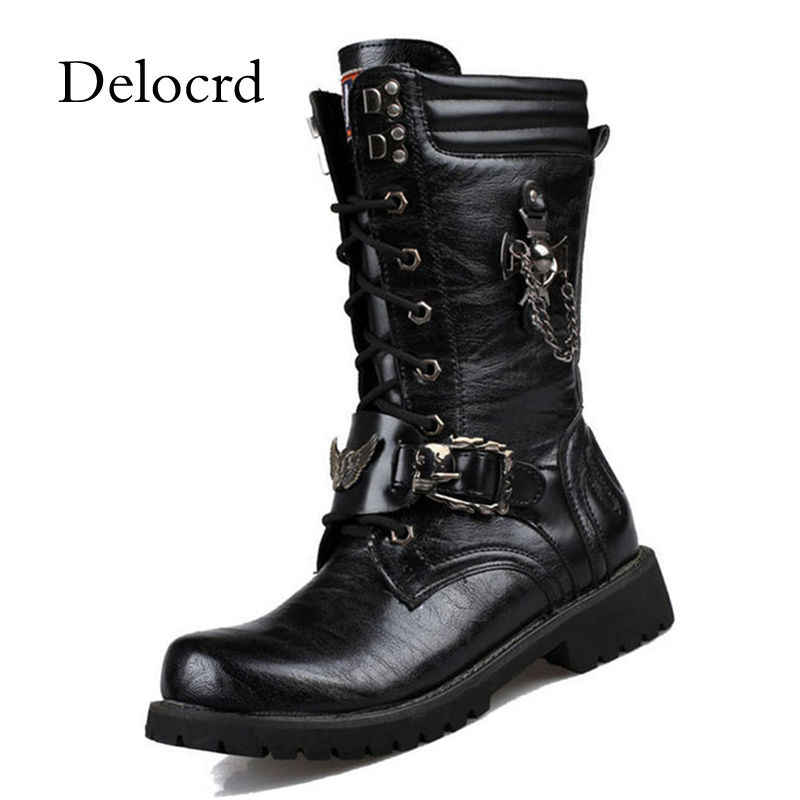 Punk Style Military Combat Mens Boots Skull Metal Lace Up