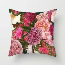 Fuwatacchi Home Decor Floral Cushion Covers Pink Rose Cactus Pillow Covers for Sofa Chair Decorations Chrysanthemum Pillowcases цены