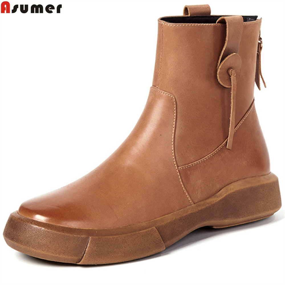 ASUMER fashion women boots black brown autumn winter genuine leather boots round toe zipper cow leather ankle boots flat with ladies casual lace up flat ankle boots fashion round toe plain cow leather boots for women female genuine leather autumn boots
