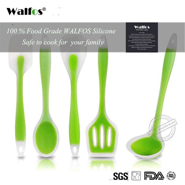WALFOS Accesorios de utensilios para cocina de silicona de grado alimenticio, juego de utensilios de cocina resistentes al calor, espátula antiadherente, cuchara giratoria de cucharón