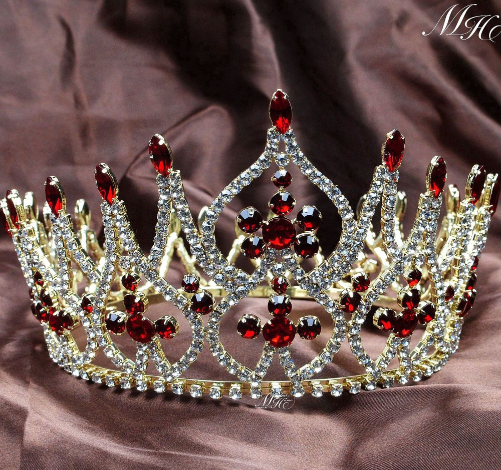 Luxurious Miss Pageant Large Crowns Full Round Wedding Bridal Tiara Diadem Gold Tone Clear Crystal Austrian Rhinestone Headpiece On Aliexpress Alibaba