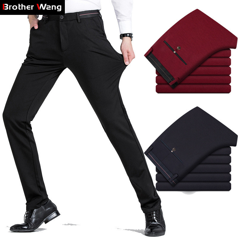Brother Wang Men's Clothing 2020 Autumn New Black Casual Pants Slim Fit Elastic Solid Color Brand Wine Red Trousers Male