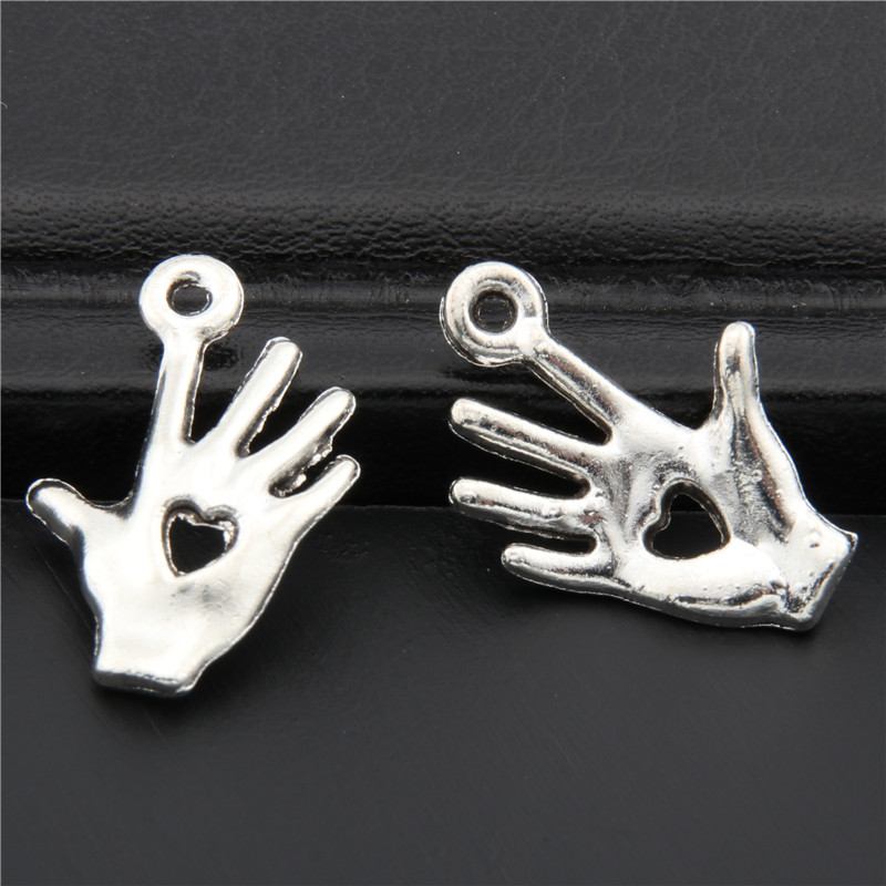 40pcs Antique Silver Charity Hand Charm Heart in Hand Pendant Fit Bracelet Necklace Jewelry DIY Making Accessories A2708 image