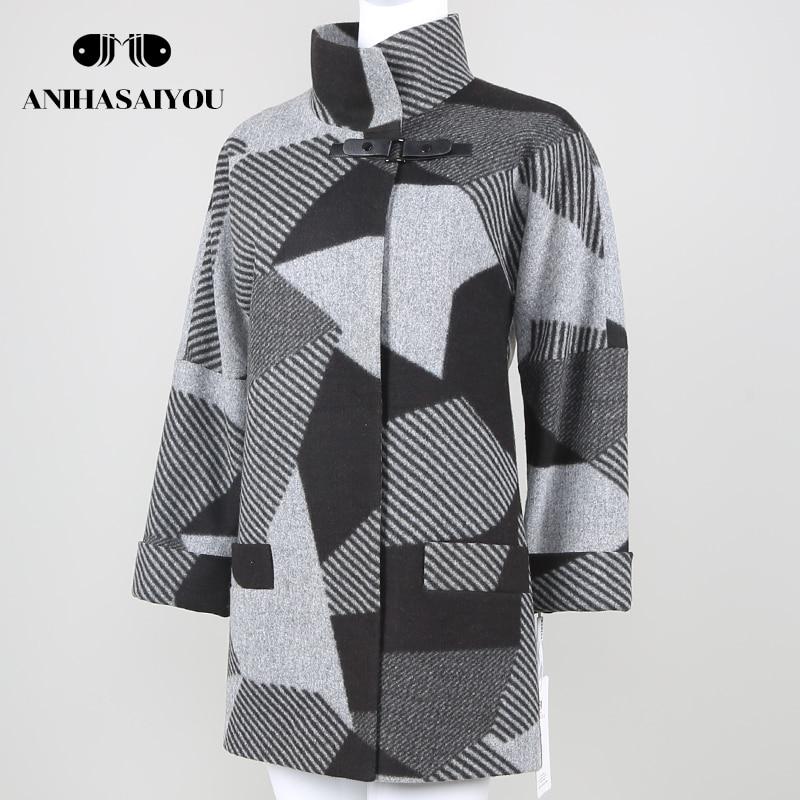 Upscale lattice cashmere coat Spring Autumn warm cashmere coat womens Casual cashmere coat plus size Fashion Jacket Outwear