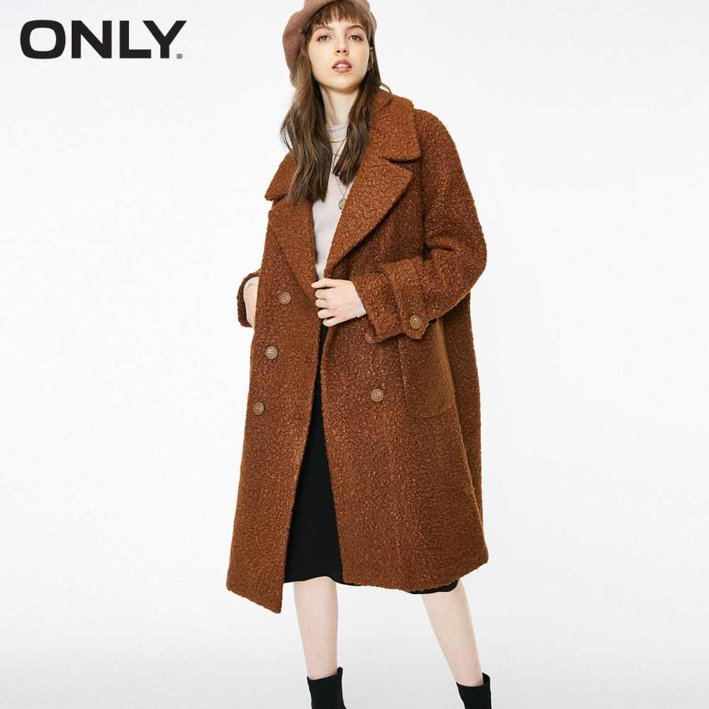 ONLY  womens' winter new oatmeal Teddy hair long coat Loose version Rear slit hem design|118422505