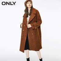 ONLY womens' winter new oatmeal Teddy hair long coat Loose version Rear slit hem design|118422505