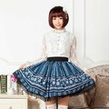 2016 NEW Women Winter Feeling Summer Cool Snowflake Print Blue Lace Lolita Plaid Vintage Skirts for Girls European Royal Skirt