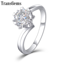 Transgems Moissanite Gold Engagement Ring for Women Center 1ct 6.5mm F Color Moissanite 14k 585 White Gold Ring for Wedding Gift цена в Москве и Питере