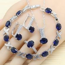 цена Royal Blue Semi-precious Women Bridal 925 Silver Jewelry Sets Hoop Earrings Bracelet Rings Necklace Pendant Gift Box 2019 New в интернет-магазинах