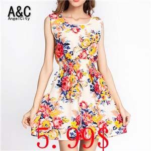 New-Brand-2015-Summer-Women-Casual-Print-Sleeveless-Dress-Chiffon-stripe-floral-print-Elastic-Waist-Bohemian