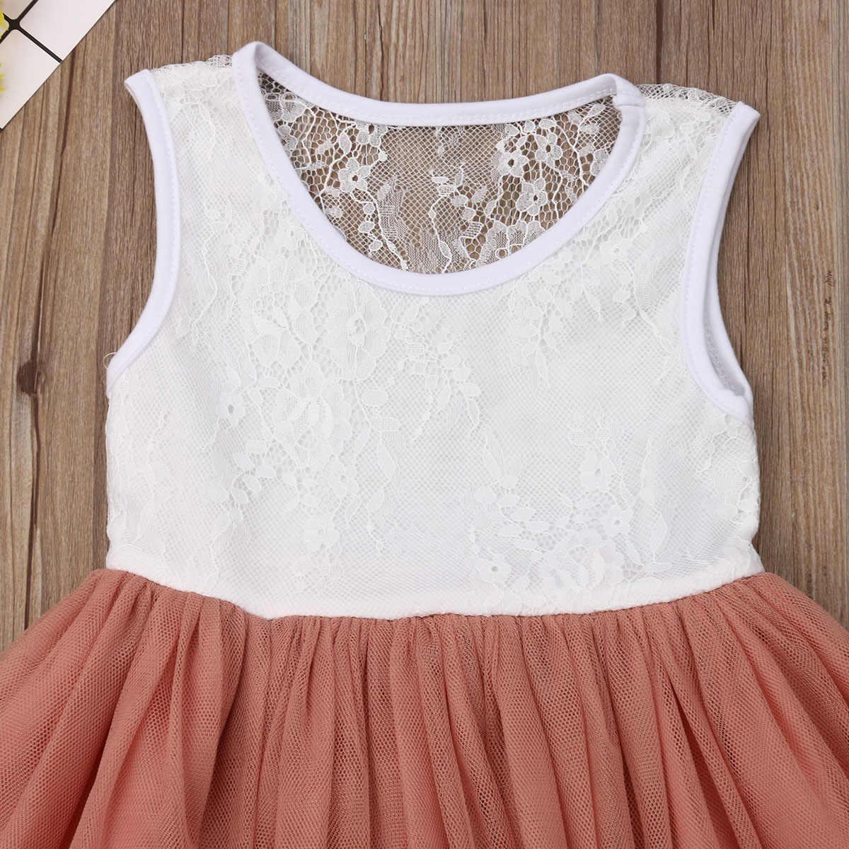 2019 الصيف الأميرة الرضع رضع أطفال فتيات زهرة فستان طويل الصلبة الدانتيل خليط الكاحل طول توتو اللباس فستان الشمس
