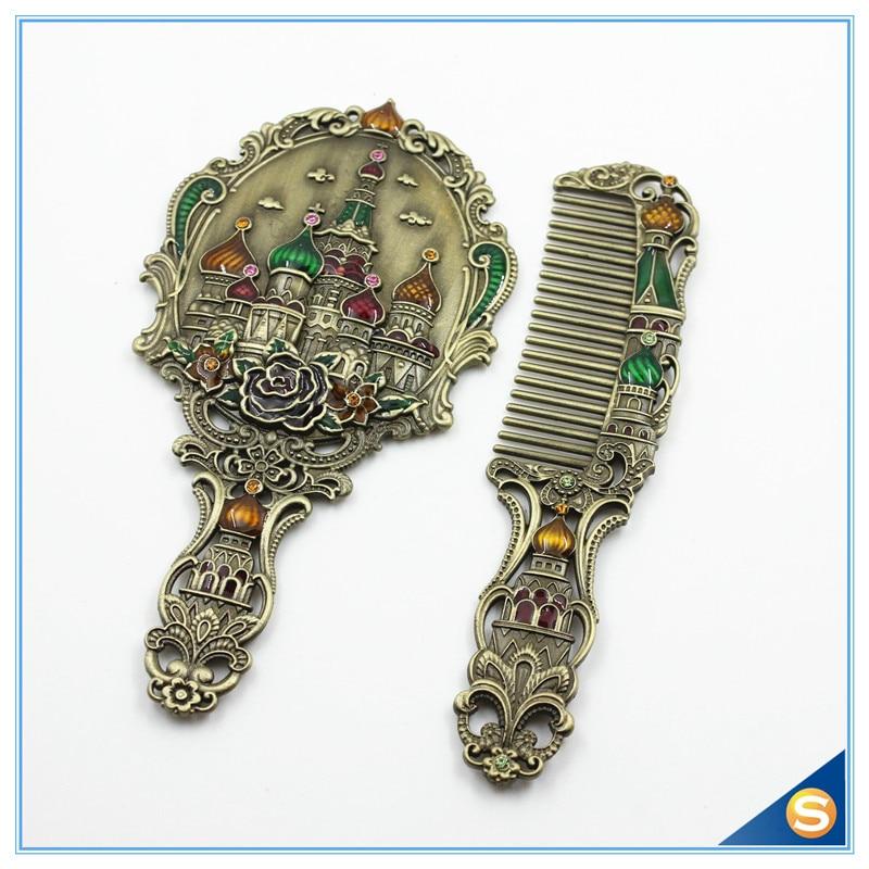 Antique Hand Mirror Value: Antique Metal Enamel Handheld Mirror Set With Russia