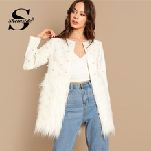 Sheinside Белый Жемчуг Украшенные пальто Для женщин осенняя куртка элегантная женская верхняя одежда 2018 Для женщин s Модный пэчворк пальто из искусственного меха