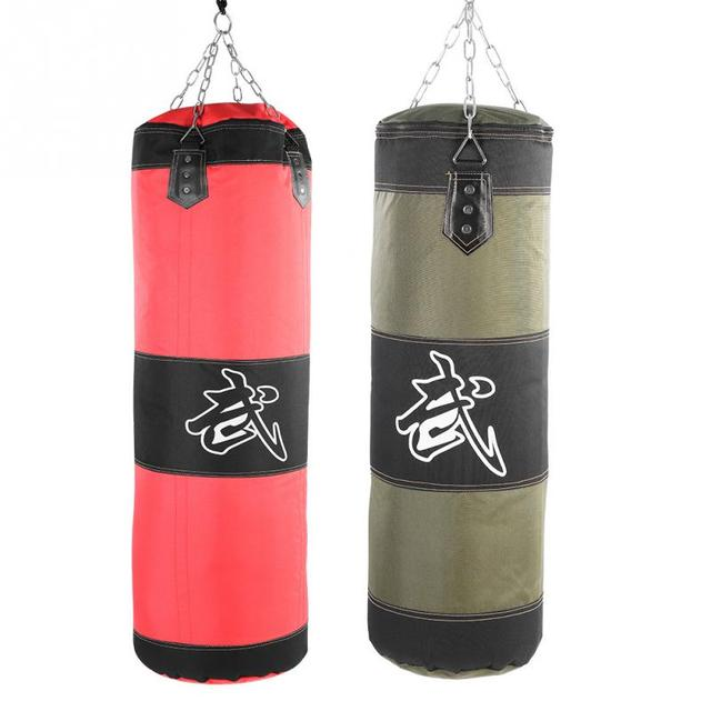 Empty Boxing Sand Bag Hanging Kick Sandbag Boxing Training Fight Karate Punch Punching Sand Bag With Metal Chain Hook Carabiner