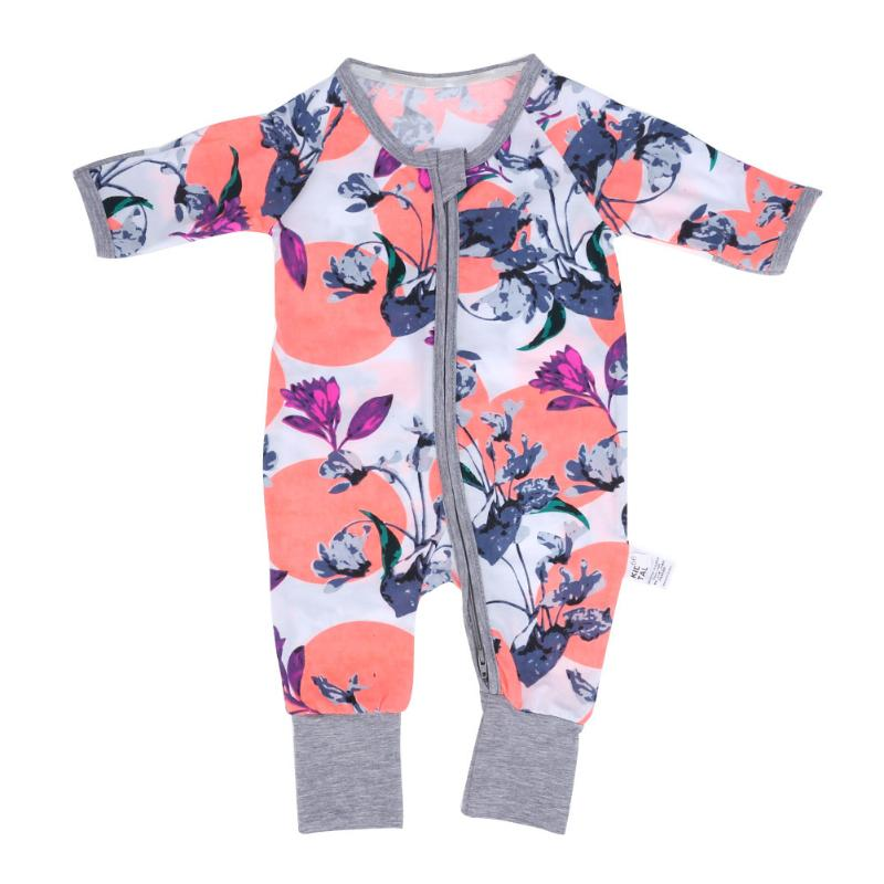 Lovely Baby Overalls Winter Newborn Bunny Romper Floral Print Girl Boy Cotton Jumpsuit Warm Toddler Clothes