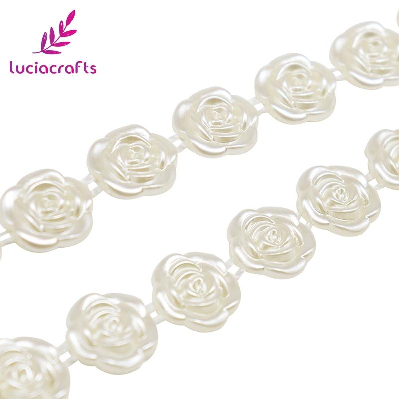 Lucia ремесел 1y/Лот 12 мм белый/бежевый вырос кабошон в виде цветка искусственный жемчуг с плоским основанием жемчуг для DIY Свадебные украшения одежды 005008060