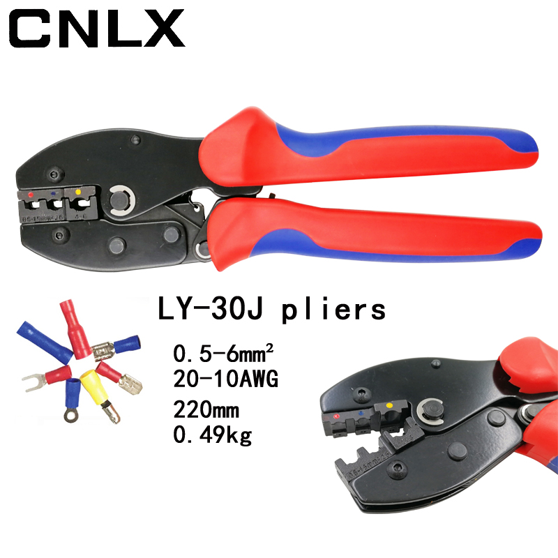 CNLX LY-30J wire crimping pliers for insulated terminals and connectors self-adjusting capacity 0.5-6mm2 20-10AWG hand tools 305pcs insulated 22 10awg terminals cold pressed wire connectors