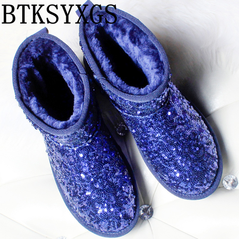 BTKSYXGS High quality Women's snow boots leather 2017 new winter Fashion Bling thickening warm bottom Women boots cotton shoes big yards for women s shoes in the fall and winter of 2016 high thickening bottom anti slip with warm confined new fashion shoes