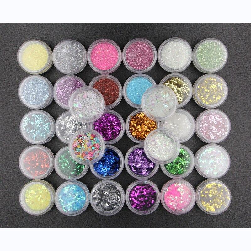 Набор блестящих блесток для дизайна ногтей, 34 шт./компл., светильник для терапии, маникюра, сделай сам, украшение для ногтей, блестящие пайетк...
