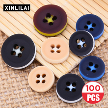 100pcs Solid Color Resin Buttons Handmade Wooden Four Holes Shirt Suit Trench Coat High-grade Clothing Accessori
