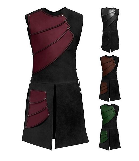 Erwachsene Männer Mittelalterlichen Archer Larp Ritter Hero Kostüm Krieger Schwarz Rüstungs-rüstung Outfit Römischen Solider Getriebe Mantel Kleidung M-3XL