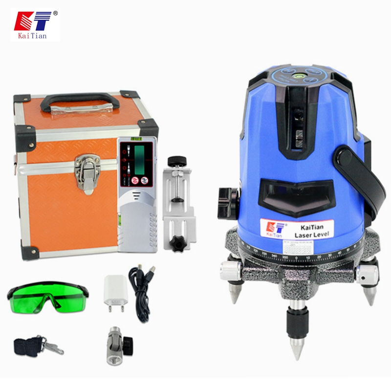 KaiTian Laser Level Receiver 5Lines 6 Points Green Level 360 Horizontal Beam Vertical 532nm Laser Self-Leveling Laser Line Nivel prostormer multi function laser level dust catcher drill guide line laser wing shape nivel laser electric drill accessories tool