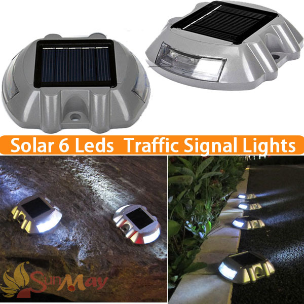 6led Outdoor Solar Aluminum Spike Traffic Signal Lights