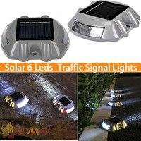 6LED Outdoor Solar aluminum spike traffic signal lights Villa Landscape solar drive lamp waterproof solar Road stud led lights