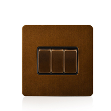 Cognag Light Switch 3 Gang 1 Way Push Button New Arrival Luxury stainless Panel With Brown Border Wall 10A AC110-250V