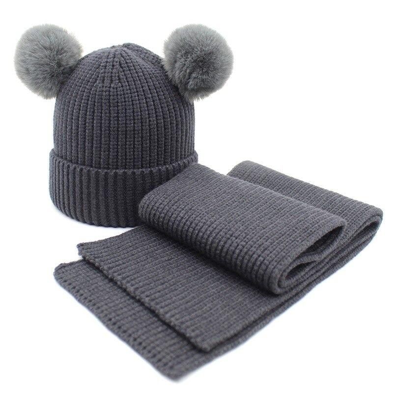 Animal Ear Pompoms Winter Beanie Hat Scarf Set for Children Casual Faux Cashmere Ski Caps Boys Girls Skull Beanie Hats