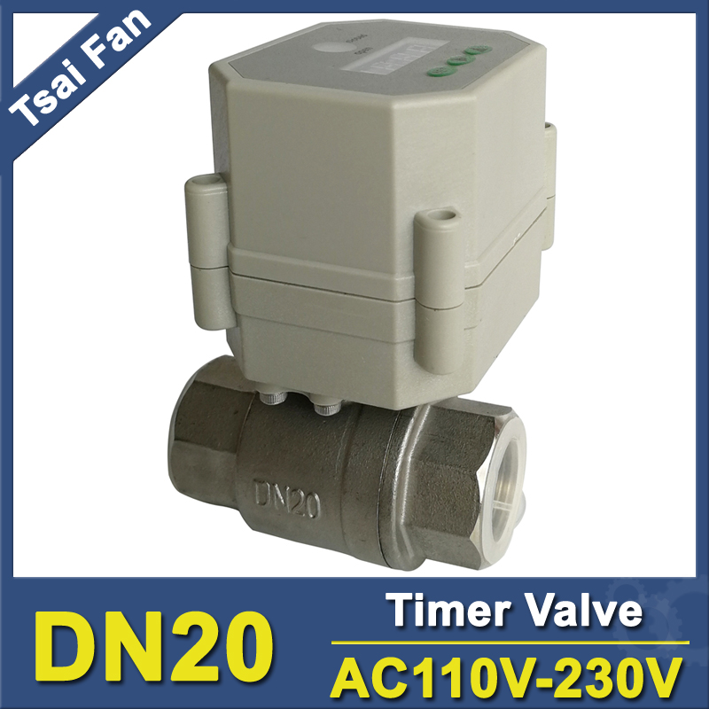Time Electric Valve AC110V-230 3/4'' BSP/NPT for garden irrigation Drain water air pump water automatic control systems 550w 220v 50hz 1db 45 electric clean water pump garden farm rain tank pond pool irrigation