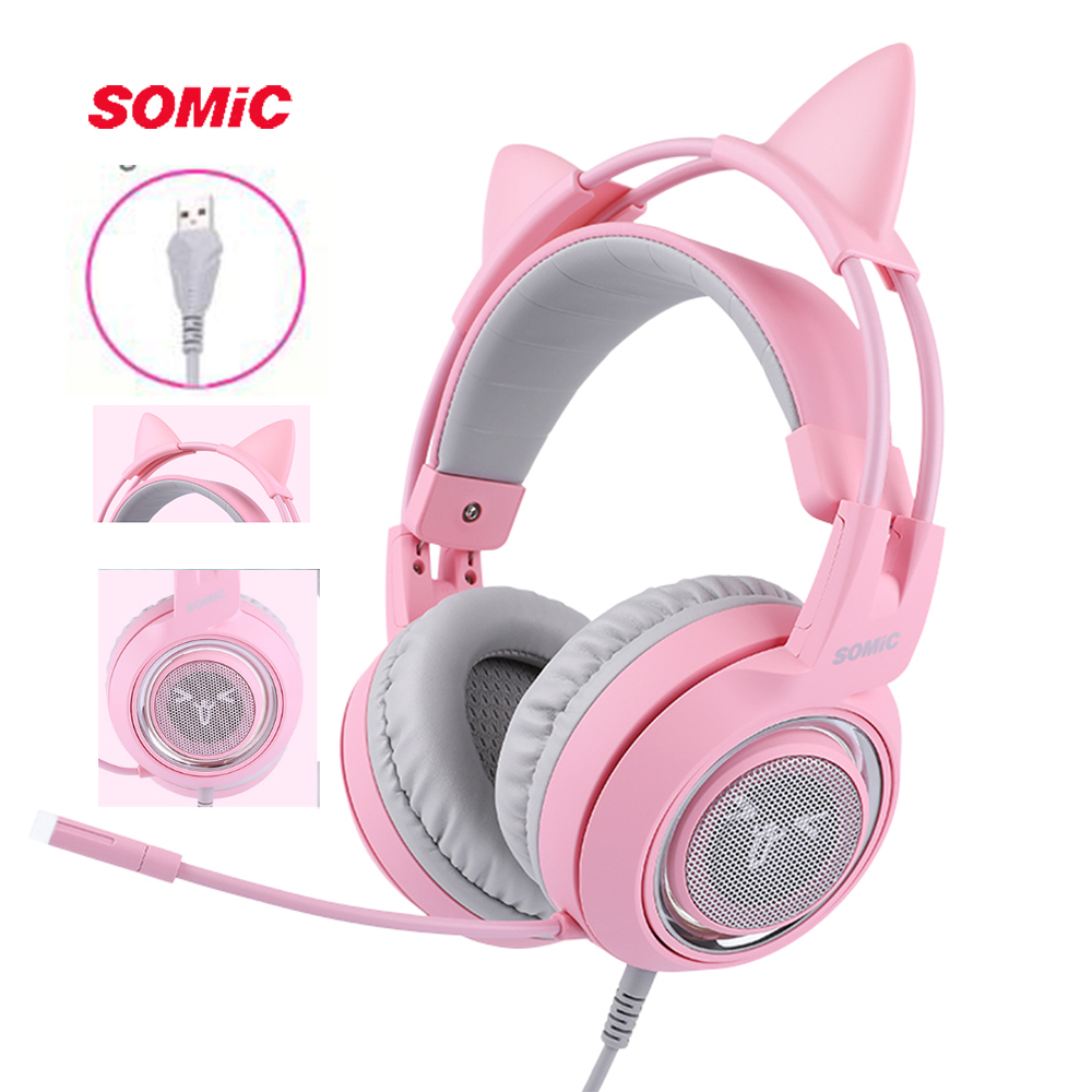 SOMIC G951 Pink Cat Headphones Virtual 7 1 Noise Cancelling Gaming Headphone Vibration LED USB Headset