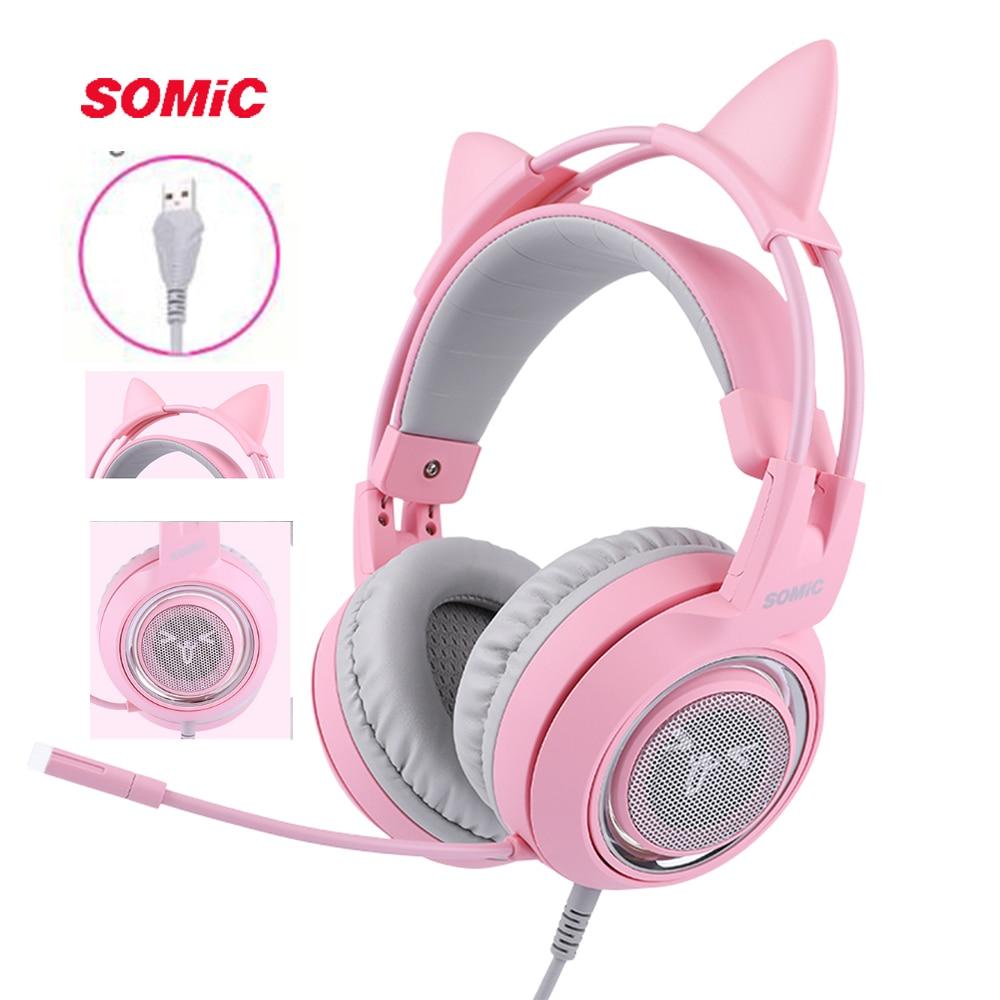SOMIC G951 rose chat casque virtuel 7.1 suppression de bruit casque de jeu Vibration LED USB casque enfants fille casques pour PC-in Écouteurs et casques from Electronique    1