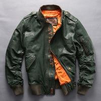 NEW 2017 Avirex Fly Genuine Leather Jacket Men Fashion Baseball Jacket Sheepskin Flight Jacket Men Bomber