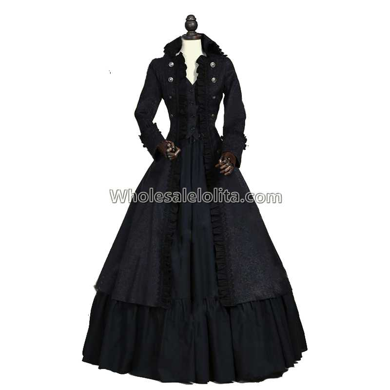 High Quality Victorian Edwardian Penny Dreadful Vampire Steampunk Collar Coat Dress Costume In Wool Blends From Women S Clothing