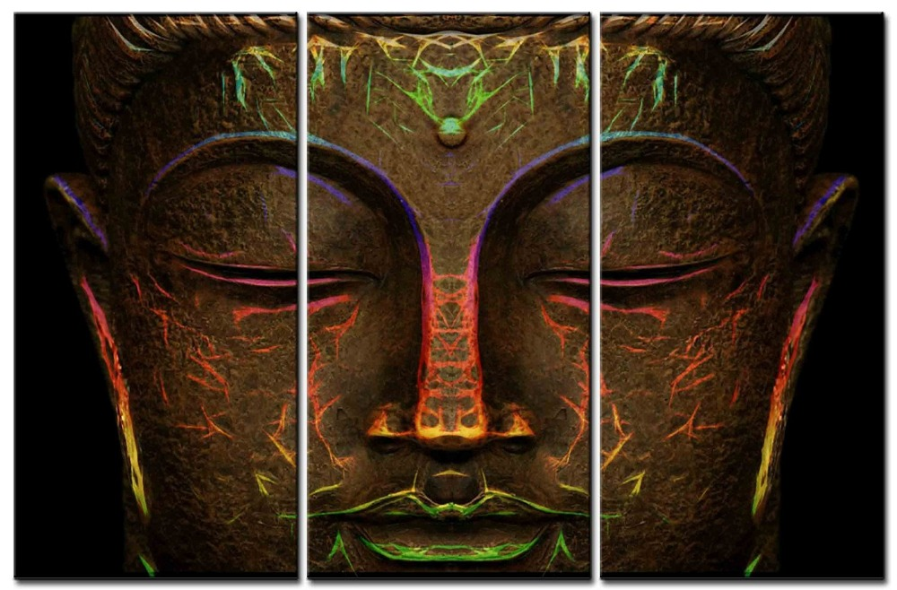 3 Piece Color painting  Buddha Head Decoration Painting Home Decor Canvas Print Poster Wall art