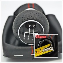 Fast Shipping For Audi A3 8l 5 Speed Car Gear Shift Knob With PU Leather Giator With Red Line 23mm big hole