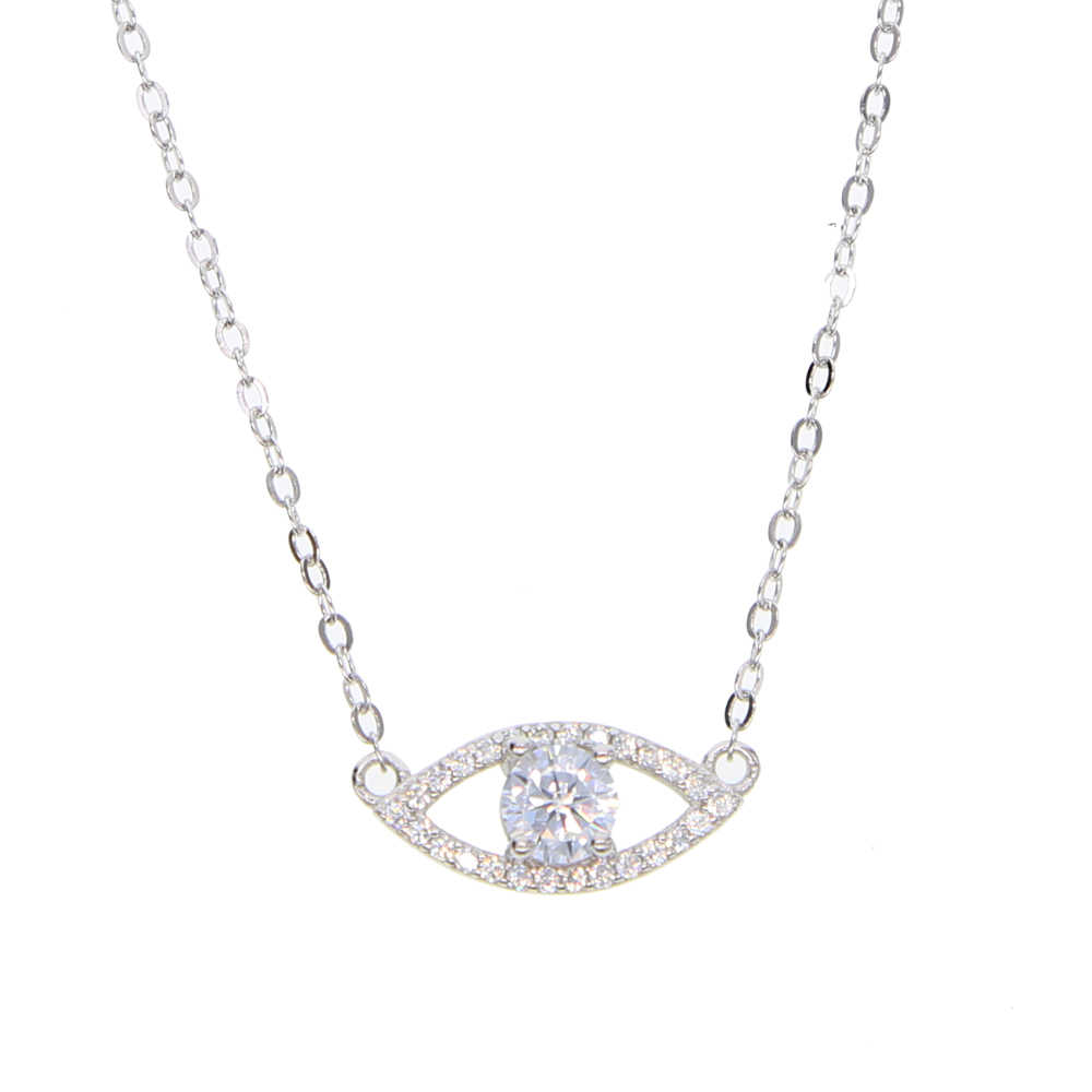 Genuine 925 sterling silver lady charm necklaces paved full shiny cz with lucky tiny evil eye pendant for cute girl fine Jewelry