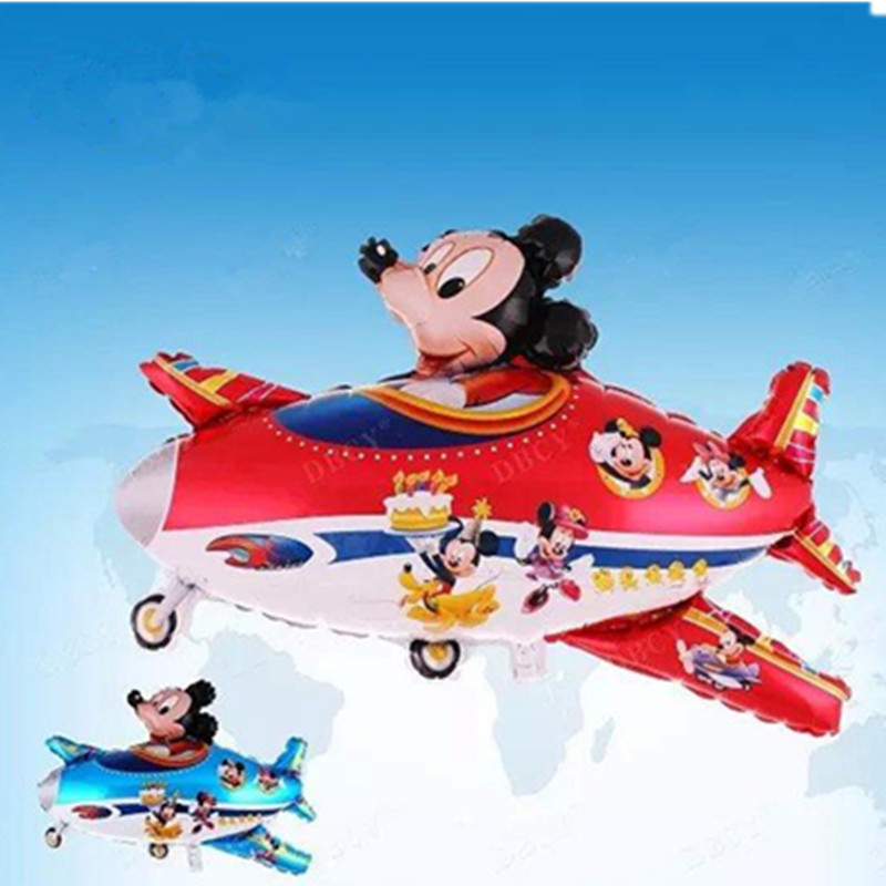 Mickey fly a plane Foil balloons Birthday Party Decorations Kids cartoon Airplanes Shape Weddding party Baby Boy balls toys