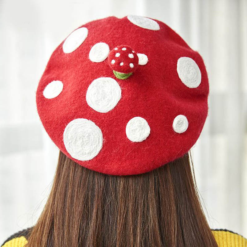 Original Cute Mushroom Handmade Wool Felt Berets Creative Painter Hat Birthday Gift Hat